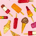 Fruit and Ice - Ice Cream Scatter on Pink