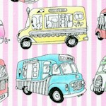 Small Scale Ice Cream Trucks On Pink and White Stripe