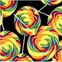 Sweet Treats - Tossed Rainbow Lollipops on Black