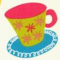 Metro Cafe - Tossed Teacups on Cream - SALE! (MINIMUM PURCHASE 1 YARD)