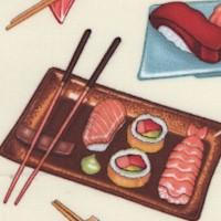 Tossed Yummy Sushi on Cream