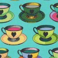 Curiouser and Curiouser - Tea Time Teacups and Saucers (VERTICAL PRINT)