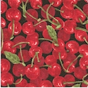 Farmer John's Mini Market - Small Scale Cherries on Black- LTD. YARDAGE AVAILABLE IN 2 PIECES