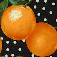 Tossed Oranges on Polka Dots