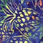 Totally Tropical 4 - Tossed Pineapples on Blue Batik