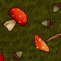 Fall Forest - Tossed Mushrooms and Acorns on Green by Debbie Mumm
