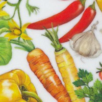 Down on the Farm - Tossed Garden Vegetables on Ivory