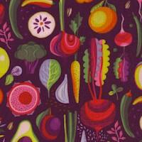 Floribunda - Fruits and Vegetables on Purple by Helen Ardik