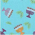 Hallmark Collection - Menorah Allover on Blue