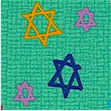 Hallmark Collection - Tossed Stars of David on Linen-Look Texture