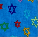 Hallmark Collection - Tossed Stars of David on Linen-Look Texture #3 - VERY LTD. YARDAGE AVAILABLE