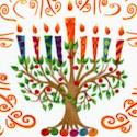 Happy Chanukah - Tossed Menorahs on Ivory