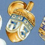 Gilded Limoges Style Dreidels on Porcelain Blue