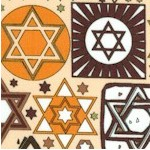 Tossed Stars of David with Metallic Accents in Brown and Tan