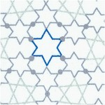 Blue Holiday - Linked Stars of David on Ivory