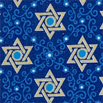Star of Peace - Metallic Silver Stars of David on Royal Blue #3