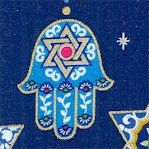 Love and Light - Strand of Gilded Judaic Symbol on Blue