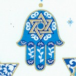 Love and Light - Strand of Gilded Judaic Symbol on White
