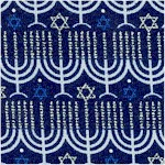 Blue Holiday - Rows of Menorahs with Silver Metallic Highlights