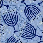 Blue Holiday - Tossed Menorahs and Stars of David with Metallic Silver Highlights