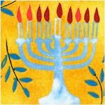 Hallmark Hanukah - Tossed Menorahs and Olive Branches