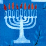 Hallmark Collection - Rows of Chanukah Menorahs on blue