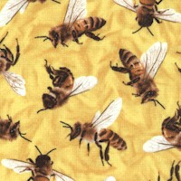 Frolicking Field - Tossed Honey Bees on Yellow