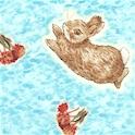 Flopsy Bunnies - Tossed Bunnies on Blue
