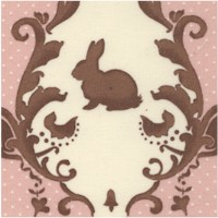 Lily & Will - Bunny Rabbit Toile in Pink and Brown by Bunny Hill Designs