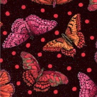 Flutter Bright - Tossed Butterflies and Polka Dots on Black
