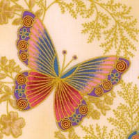 Tuscan Wildflower 3 - Gilded Butterflies and Flowers on Beige by Peggy Toole