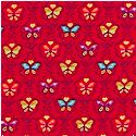 Butterfly - Gilded Small Scale Butterflies on Red