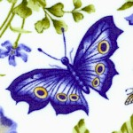 Botanical Blues - Tossed Flowers and Butterflies