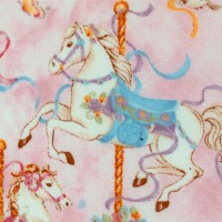Carousel Dreams - Carousel Horses on Pink by Cynthia Coulter