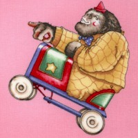 Circus Menagerie on Pink by J. Wecker-Frisch