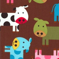 Urban Zoologie - Whimsical Cows on Brown