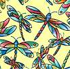 Stained Glass Dragonflies on Yellow