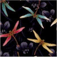 Lotus Collection - Gilded Dragonflies on Black