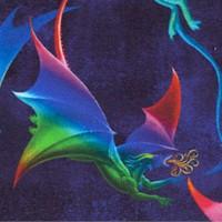 Rainbow Dragon on Blue by Sue Ellen Brown