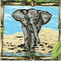 Elephants - Small Framed Portraits on Jungle Foliage