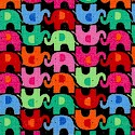 Colorful Mini Elephants on Black