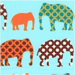 Urban Circus - Rows of Patterned Elephants on Blue