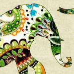 Caravan - Tossed Patterned Elephants by Dan Morris