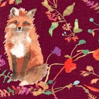 Foxwood - Forest Foxes on Burgundy by Betsy Olmsted
