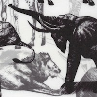 Jungle Animal Collage in Black and White