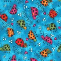Rainbow Garden - Tossed Ladybugs on Turquoise