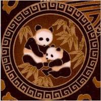 Shanghai Style - Gilded Oriental Pandas and Flowers on Brown Sateen