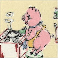 Piggies in the Kitchen on FLANNEL by Nick and Nora