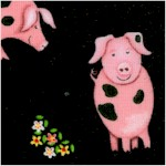 Farm Life - Tossed Cute Pigs on Black by Kate Mawdsley