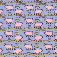 Mini Prints - Tiny Pigs on Blue